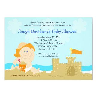 beach baby sand castle orange baby shower 5x7 card