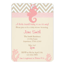 Beach Baby Seahorse Baby Shower Invitation