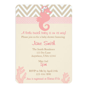 Beach baby shower invitations announcements zazzle beach baby seahorse baby shower invitation filmwisefo Image collections