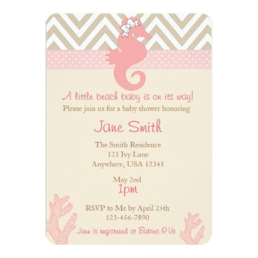 Beach Themed Beach Baby Seahorse Baby Shower Invitation