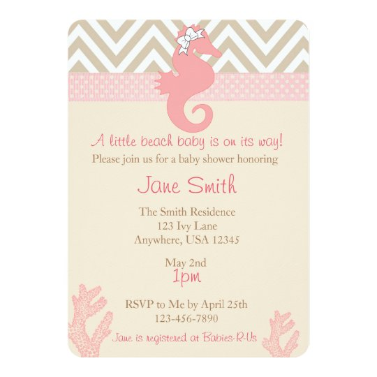 beach baby seahorse baby shower invitation zazzle