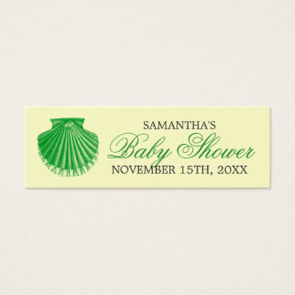 Beach Baby Shower Favor Tag Scallop Shell Green