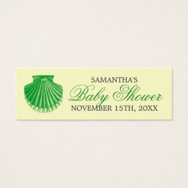 Beach Themed Beach Baby Shower Favor Tag Scallop Shell Green