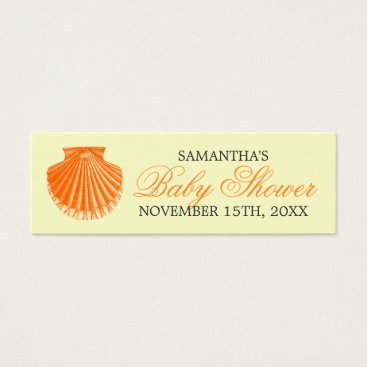 Beach Themed Beach Baby Shower Favor Tag Scallop Shell Orange