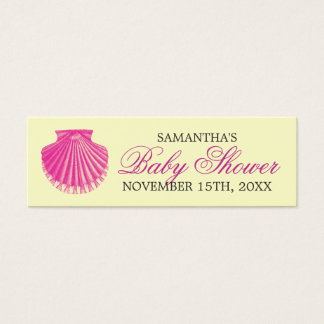 Beach Baby Shower Favor Tag Scallop Shell Pink