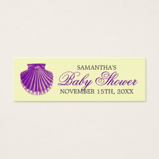 Beach Baby Shower Favor Tag Scallop Shell Purple