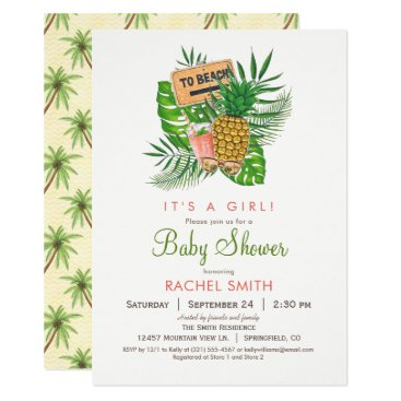 Toddler & Baby themed Beach Baby Shower Invitation