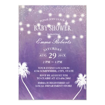 Beach Themed Beach Baby Shower Palm Tree Purple Watercolor Card
