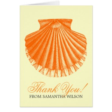 Beach Themed Beach Baby Shower Thank You Scallop Shell Orange Card