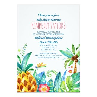 Beach Baby Shower Tropical Pineapple Palms Card
