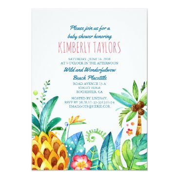 Beach Themed Beach Baby Shower Tropical Pineapple Palms Card