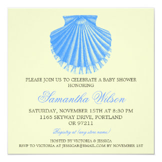 Beach Baby Shower Vintage Scallop Shell Blue Card