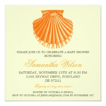 Beach Themed Beach Baby Shower Vintage Scallop Shell Orange Card