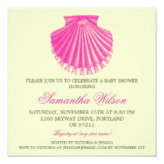 Beach Baby Shower Vintage Scallop Shell Pink Card