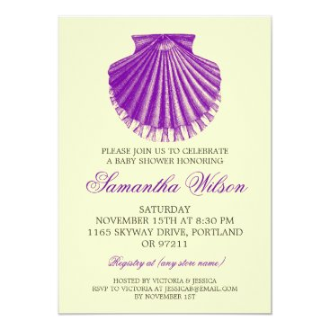 Toddler & Baby themed Beach Baby Shower Vintage Scallop Shell Purple Card