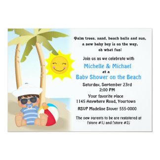 Beach Baby Shower with Sailor Baby 5x7 Paper Invitation Card