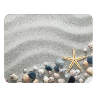 Beach Background With Shells And Starfish Door Sign