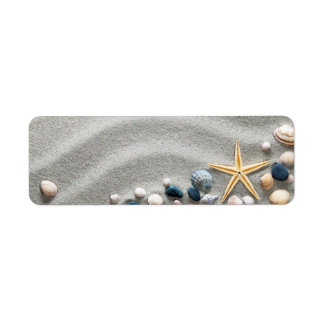 Beach Background With Shells And Starfish Label