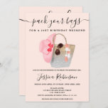 """Beach bag birthday silver pink glitter weekend invitation<br><div class=""""desc"""">Plan the perfect 21st birthday party program weekend and itinerary and pack your bags  with this pastel pink watercolor weekend beach bag and silver glitter ombre,  straw hat,  and sunglasses watercolor illustration on soft pastel blush pink.</div>"""