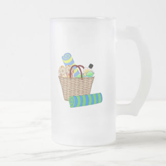 Beach Bag, Towels and Flip Flops 16 Oz Frosted Glass Beer Mug