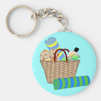 Beach Bag, Towels and Flip Flops Basic Round Button Keychain