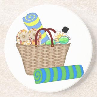 Beach Bag, Towels and Flip Flops Coaster