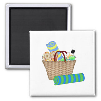 Beach Bag, Towels and Flip Flops 2 Inch Square Magnet