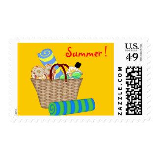 Beach Bag, Towels and Flip Flops Postage Stamp