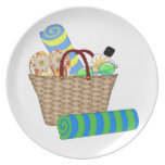 Beach Bag & Towels Party Plate