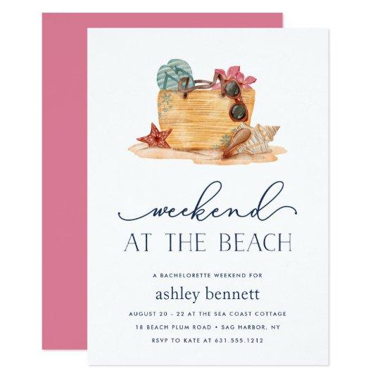 Beach Bag Weekend Getaway Invitation Zazzle Com