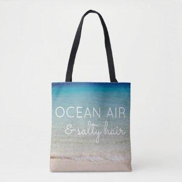 Beach Themed Beach Bag with Ocean Background