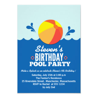 Beach Ball - Beach theme Birthday Party Invitation
