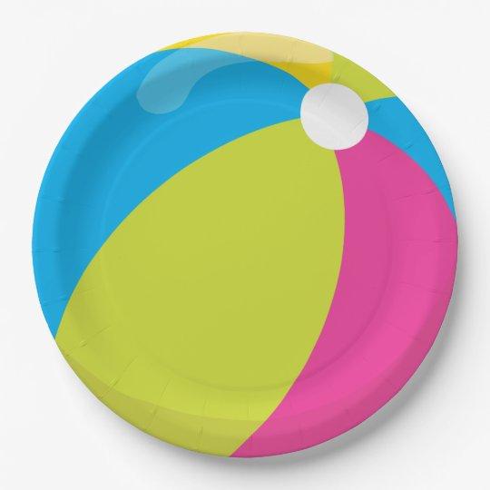 beach ball beach theme pool party paper plate zazzle com