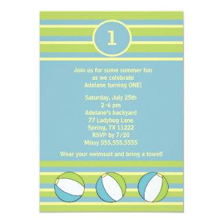 Beach Ball Birthday party invitation blue green