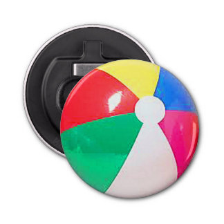 """Beach ball"" design gifts and products Button Bottle Opener"