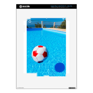 Beach ball floating on water in swimming pool decals for iPad 3