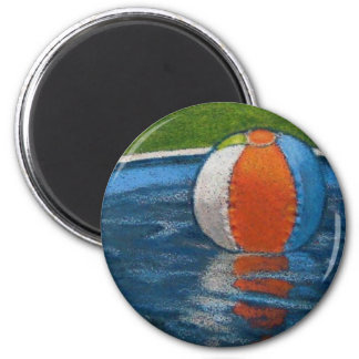 BEACH BALL IN POOL DRAWING MAGNET