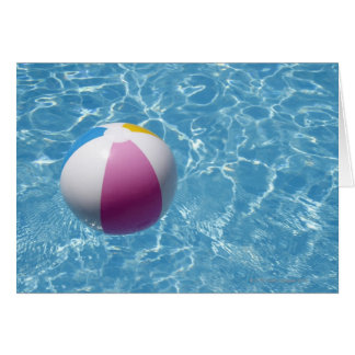Beach ball in swimming pool card