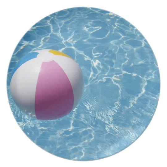 Beach ball in swimming pool melamine plate