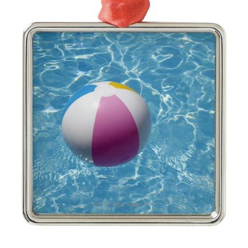 beach ball in swimming pool square metal christmas ornament zazzle