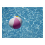 Beach ball in swimming pool poster