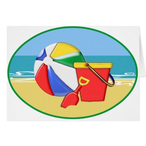Beach Ball, Pail & Shovel at the Shore Card