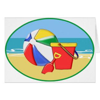 Beach Ball, Pail & Shovel at the Shore Greeting Card
