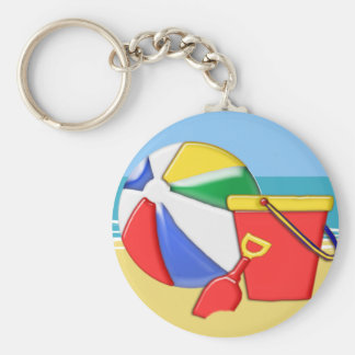 Beach Ball, Pail & Shovel at the Shore Keychain