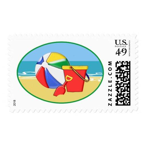 Beach Ball, Pail & Shovel at the Shore Stamp