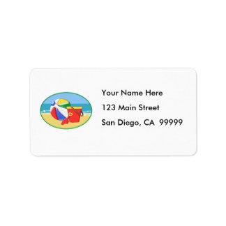 Beach Ball, Pail & Shovel Label