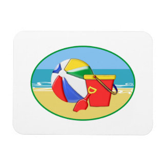 Beach Ball, Pail & Shovel Rectangular Photo Magnet