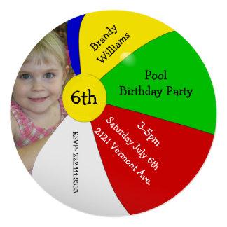 Beach Ball Photo Birthday Party Invitation