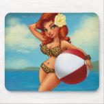 Beach Ball Pinup Girl Mousepads