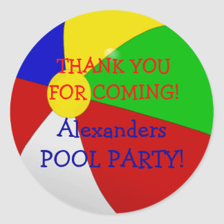 Beach Ball Pool Party Classic Round Sticker